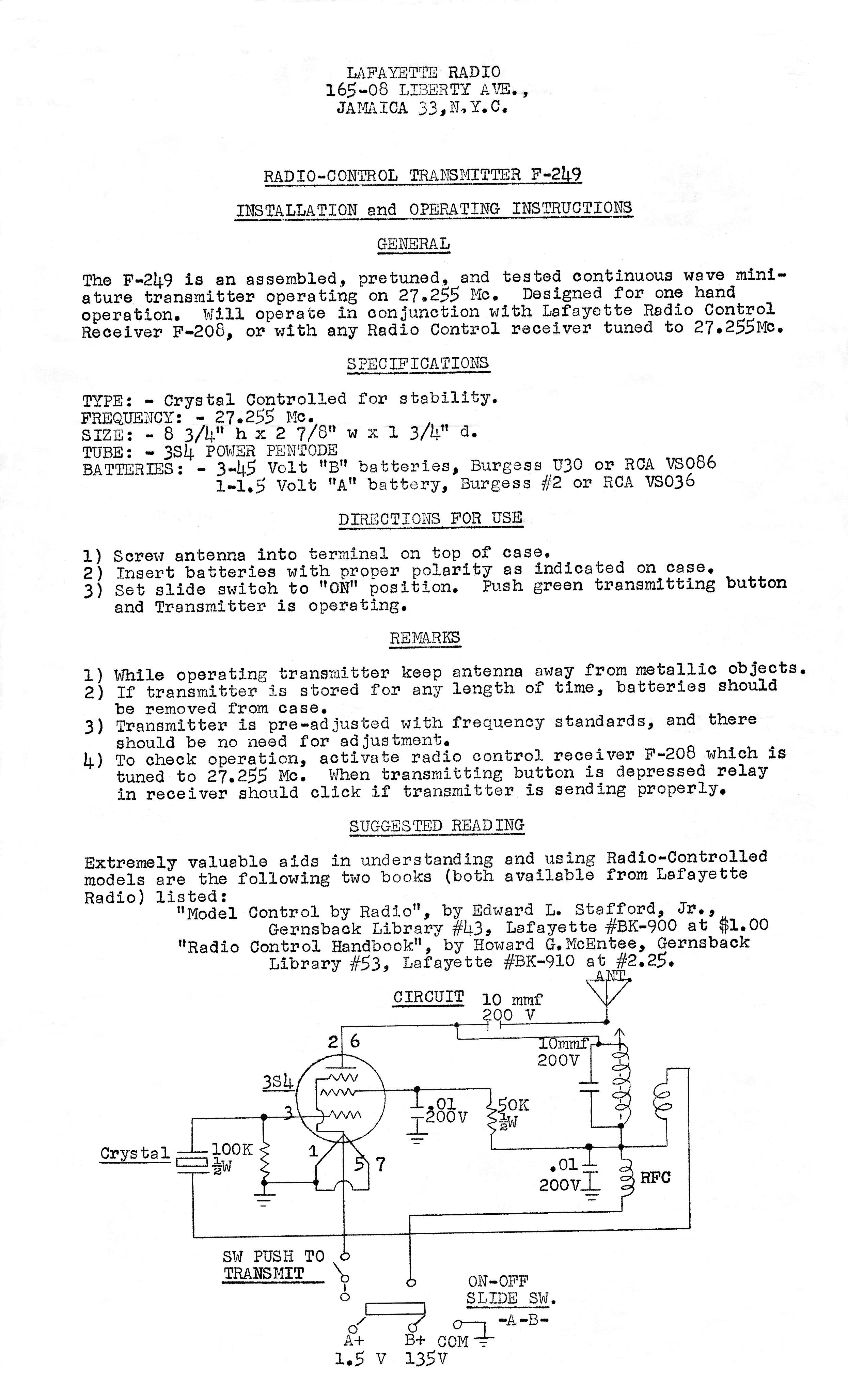Lafayette Wiring Diagrams Index Of Files F 249 Tx Instructions